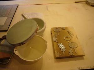 唐紙を刷る道具と板木
